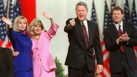 From left, Hillary Clinton, Tipper Gore, Bill Clinton and Al Gore celebrate their election victory in Little Rock, Arkansas, in November 1992. Clinton won with 43% of the vote to Bush's 37% and Perot's 19%.