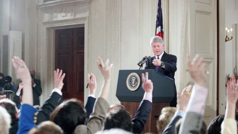 Clinton calls on a reporter during a White House news conference in March 1994. The President said he would release his tax returns from the late-1970s to answer questions about his Whitewater investment. Six years later, independent counsel Robert Ray closed the Whitewater investigation, clearing the Clintons of any wrongdoing in the real-estate scandal.