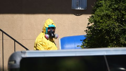 A hazmat team arrives to clean a unit at the Ivy Apartments, where a confirmed Ebola virus patient was staying, on October 3 in Dallas.