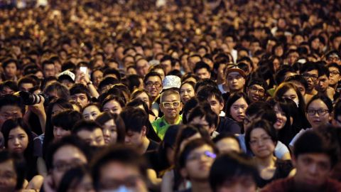 Thousands of pro-democracy activists attend a rally on the streets near the government headquarters on October 4 in Hong Kong.
