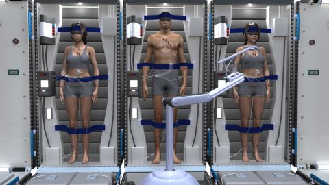 Astronauts in a hibernation state called torpor are strapped into modules with medical monitors. They are fed intravenously.