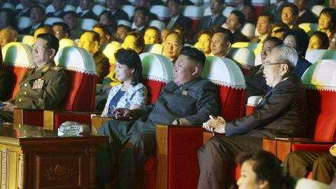 A picture released by the KCNA shows Kim and his wife watching a performance by the Moranbong Band on Wednesday, September 3, in Pyongyang.