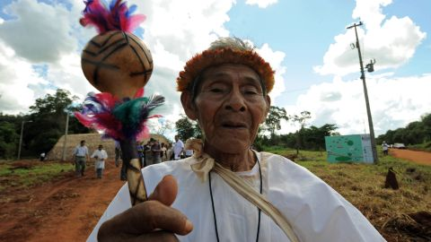 A Paraguayan Guarani native takes part in the II Meeting of the Guarani Nation on March 26, 2011 in Pedro Juan Caballero, 500km northeast of Asuncion. Guarani natives demand better living conditions including access to education, support for production and the provision of lands, among others.  AFP PHOTO/Norberto Duarte (Photo credit should read NORBERTO DUARTE/AFP/Getty Images)
