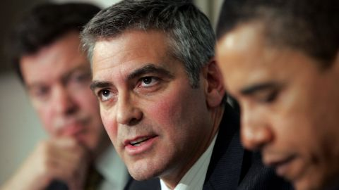 Actor George Clooney has hosted multiple fundraisers for Obama's presidential campaigns, including events in Switzerland. In this 2006 photo, he's  joined then-Senator Obama in discussing the situation in the Darfur region of Sudan.