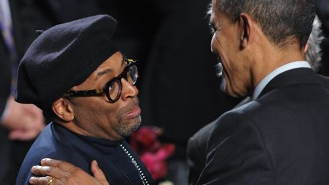 Director Spike Lee hosted a fundraiser for Obama's reelection campaign in January 2012. In this photo, he is seen greeting Obama after Obama spoke at the 20th anniversary National Action Network Gala in 2011.