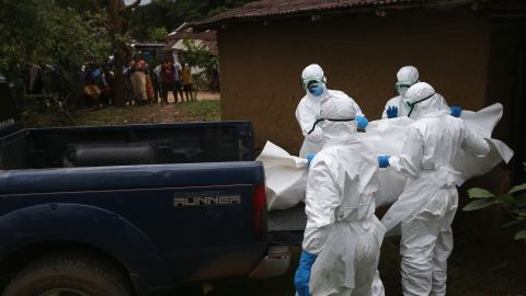 """The U.S. Centers for Disease Control and Prevention recommends that only people """"trained in handling infected human remains, and wearing personal protective equipment, should touch or move any Ebola-infected remains."""""""
