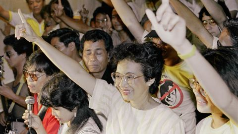 """Corazon Aquino was the first woman to lead the Philippines, serving as President from 1986-1992. A former housewife, she was propelled to the head of a """"People Power"""" movement that pushed out longtime strongman Ferdinand Marcos after her husband's assassination."""