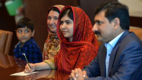 Malala and her family visit the United Nations headquarters in New York before meeting with U.N. Secretary General Ban Ki-moon in August.