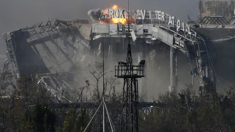 The main terminal of Donetsk Sergey Prokofiev International Airport is hit by shelling during fighting between pro-Russian rebels and Ukrainian forces on Wednesday, October 8.