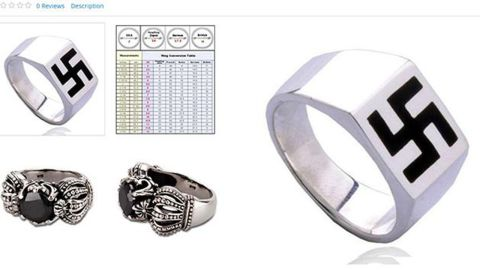 """Online shoppers were shocked to find a ring featuring a swastika design listed for sale on Sears' website in October. After consumers unleashed criticism via Twitter, and media outlets like Haaretz and Kveller publicized the gaffe, Sears pulled down the ad and expressed regret about its placement on the site. """"This item is a 3rd party Sears Marketplace product that does not abide with our guidelines and has been removed,"""" the company <a href=""""https://twitter.com/Sears/status/521728664606883843"""" target=""""_blank"""" target=""""_blank"""">responded via Twitter</a>."""