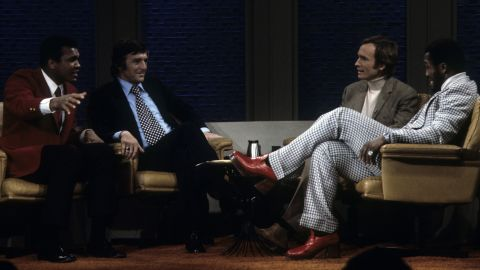 """Ali and Frazier appear on """"The Dick Cavett Show"""" in January 1974. The two got into a brawl in ABC's New York studio and were fined $5,000 each."""