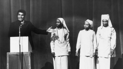 Ali addresses a Nation of Islam meeting in London in December 1974. The following year, Ali left the Nation of Islam and embraced Sunnism, a more mainstream Islamic faith.