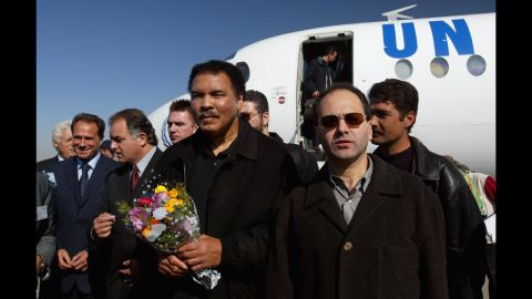 Ali arrives in Kabul, Afghanistan, in November 2002 for a three-day goodwill mission as a special guest of the United Nations. He was appointed as a U.N. Messenger of Peace in 2000.