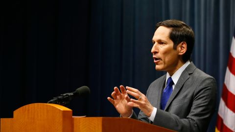 CDC Director Tom Frieden briefs the media about the status of Ebola in the U.S. at the CDC headquarters in Atlanta.