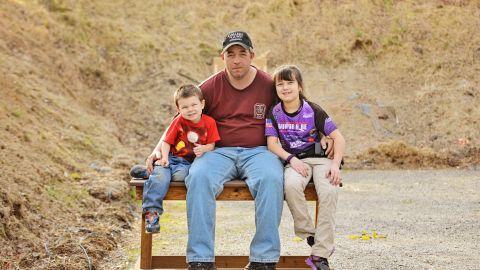 Dan Roberts and his two children.