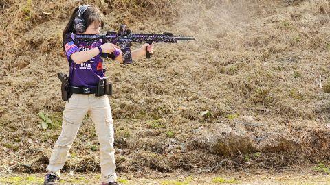 Shyanne shoots the custom AR15 she helped build.