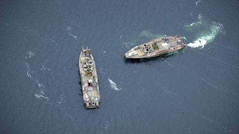 Two Swedish Navy fast-attack craft patrol the Stockholm Archipelago October 19.