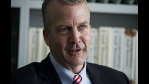 Dan Sullivan, Republican senate candidate from Alaska, is interviewed in Roll Call's Washington office, June 4, 2014. (Photo By Tom Williams/CQ Roll Call)