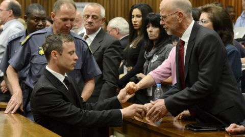 Oscar Pistorius, left front, greets his uncle Arnold Pistorius, right, and other family members as he is led out of court in Pretoria, South Africa, Tuesday, Oct. 21, 2014. Pistorius received a five-year prison sentence for culpable homicide by judge Thokozile Masipais for the killing of his girlfriend Reeva Steenkamp last year (AP Photo/Herman Verwey/Pool)