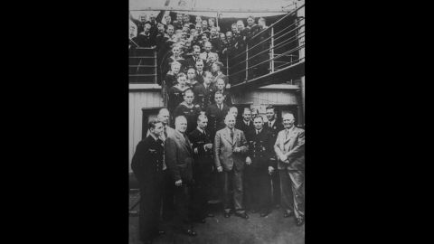 The crew of U-576 poses for a formal photo aboard the sub.