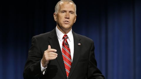 North Carolina Republican Senate candidate Thom Tillis makes a comment during a live televised debate with Sen. Kay Hagan, D-N.C., at UNC-TV studios in Research Triangle Park, N.C., Tuesday, Oct. 7, 2014.