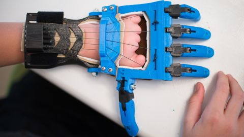 """The Talon hand is a <a href=""""http://blog.solidoodle.com/2014/03/father-and-son-make-prosthetic-device-with-their-solidoodle/"""" target=""""_blank"""" target=""""_blank"""">popular model designed</a> by a teacher, Peter Binkley, for his son, Peregrine Hawthorne. They both design and test devices for the e-NABLE community."""