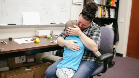 """The first thing Alex did when he got his arm was hug his mother. Microsoft has highlighted Alex and the UCF team in a social media campaign called <a href=""""http://office.tumblr.com/"""" target=""""_blank"""" target=""""_blank"""">The Collective Project</a>, which celebrates students using technology to change the world."""