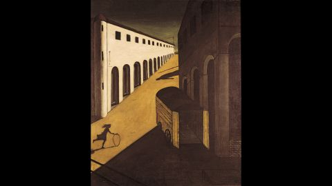 """Not all European artists expressed the period's anxieties in the same manner. Giorgio de Chirico's """"Melancholy and Mystery of a Street"""" (1914) conjures post-apocalyptic stillness and disquieting anticipation.  A girl rolls her hoop across a sunny square, unaware of the hearse that looms in shadow -- the metaphor, perhaps, of a continent hurtling toward the void."""