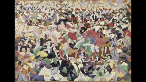 """Gino Severini was among the painters of the Futurist movement that would flourish during the war, reflecting the mechanized violence of the time. Futurists served as avant-gardists in the literal military sense, says art historian Ara Merjian, underscoring the war's inseparability from various aesthetic phenomena. This is his pre-WWI Cubist collage """"La Danse du Pan Pan au Monico."""""""