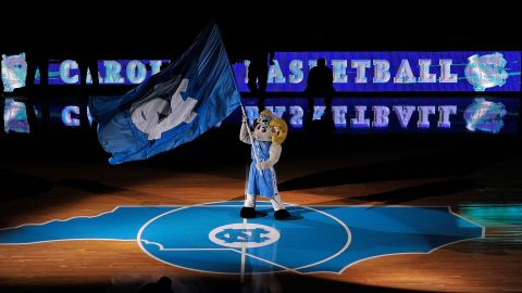 CHAPEL HILL, NC - DECEMBER 21:  Rameses, mascot of the North Carolina Tar Heels, performs before the start of a game against the Texas Longhorns during play at Dean Smith Center on December 21, 2011 in Chapel Hill, North Carolina.  (Photo by Grant Halverson/Getty Images)