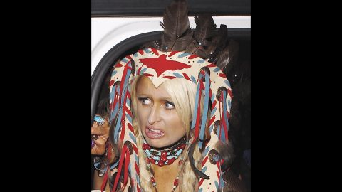 Paris Hilton attended the Playboy Mansion Halloween Party in 2010 dressed in native American-style regalia. American Indian activists have been vocal in recent years about how offensive it can be to wear native headdresses out of context.