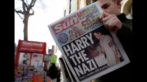 Photos surfaced in 2005 of Britain's Prince Harry wearing a Nazi uniform at a costume party. Come on, Harry!