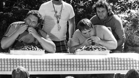 """Murray's first big-screen lead role was in 1979's """"Meatballs."""" He played a camp counselor in a film that also featured, left to right, Peter Hume, Harvey Atkin and Keith Knight."""