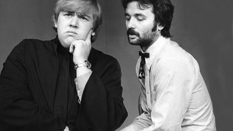 John Candy and Bill Murray perform in 1973 as cast members of Second City.