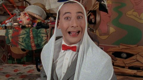 Pee-wee wears his giant underpants on his head.
