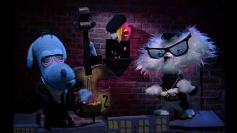 The beatnik puppet band, from left: Dirty Dog, Chicky Baby and Cool Cat.