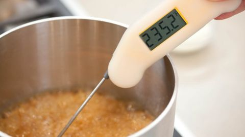 An instant-read thermometer or candy thermometer is essential when working with boiling sugar. The sugar mixture must reach but not exceed certain temperatures in order to set up properly. (More on that later.) For now, look for 235 degrees to give this mixture a good head start before adding the wine.