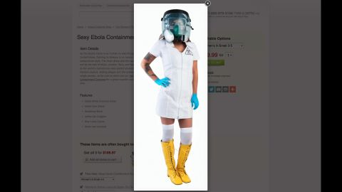 """The only thing sexier than anorexia? Ebola. This """"Sexy Ebola Containment Suit"""" was available at brandsonsale.com."""