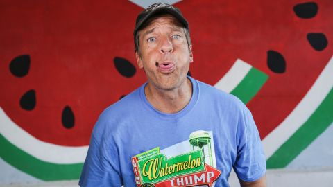 Rowe spits a seed during the Watermelon Thump competition in Texas.