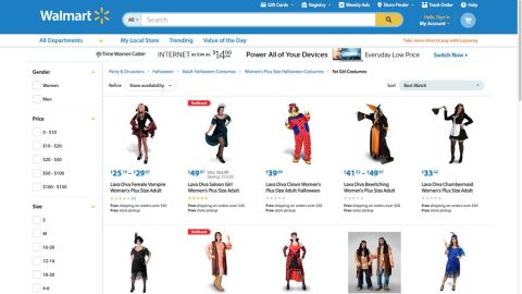 """""""Not sure labeling these as 'Fat Girl Costumes' is the best approach."""" Twitter user Kristyn Washburn <a href=""""https://twitter.com/ItsWithaY/status/524671356550787073/photo/1"""" target=""""_blank"""" target=""""_blank"""">tweeted</a> at Walmart on October 21, after discovering how the plus-size Halloween costumes for women were labeled. The retail giant apologized six days later, after <a href=""""http://jezebel.com/walmarts-website-features-a-section-of-fat-girl-costum-1651125569"""" target=""""_blank"""" target=""""_blank"""">media outlets like Jezebel</a> reported on the classification. It's currently investigating how the labeling occurred. """"This never should have been on our site. It is unacceptable and we apologize,"""" said Ravi Jariwala, a spokesperson for Walmart. """"We worked quickly to remove it this morning and are taking additional steps to ensure this never happens again."""""""