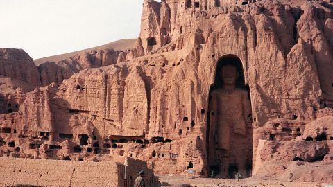 """The most spectacular legacy of Buddhism in the war-torn country, among the tallest standing Buddhas in the world -- the larger at 53 meters, the other 35 -- had survived over 1,500 years since being carved out of sandstone. The Taliban considered the monuments idolatrous and <a href=""""http://whc.unesco.org/en/news/718"""" target=""""_blank"""" target=""""_blank"""">destroyed them with dynamite</a>."""