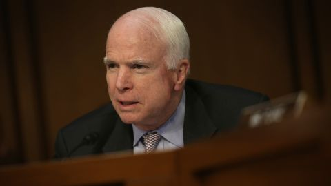 """WASHINGTON, DC - SEPTEMBER 17:  U.S. Sen. John McCain (R-AZ) speaks during a hearing before the Senate Foreign Relations Committee September 17, 2014 on Capitol Hill in Washington, DC. The committee held a hearing on """"United States Strategy to Defeat the Islamic State in Iraq and the Levant.""""  (Photo by Alex Wong/Getty Images)"""