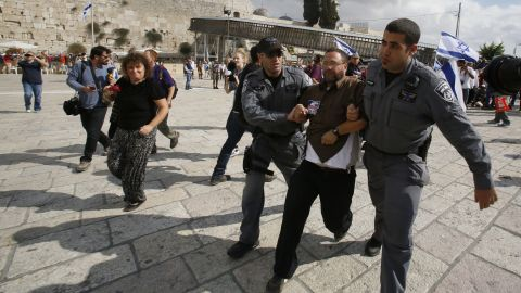 """Israeli police detain activist Noam Federman after he tried to enter the Temple Mount on Thursday, October 30. The closing of the holy site -- the first in more than a decade -- infuriated Palestinians, with a spokesman for Palestinian President Mahmoud Abbas calling it a """"declaration of war."""""""