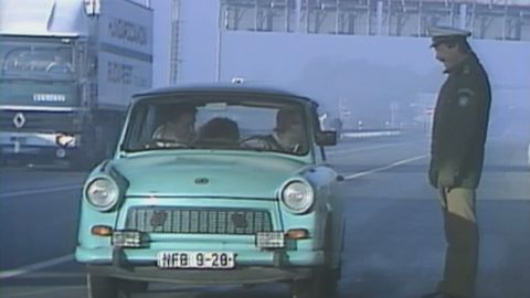 The  Communist-built Trabant has come to be regarded as a symbol of East Germany. Production of the car ceased following the collapse of the communist government in 1989. As the Berlin Wall fell, legions of Trabants were seen streaming out of the German Democratic Republic, to West Berlin and beyond.
