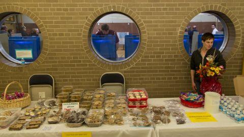 A bake sale is held outside Jefferson Elementary School, a polling place in Milwaukee.