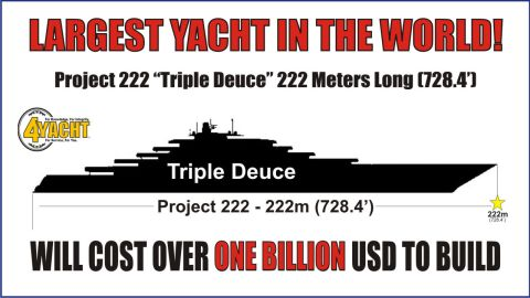 """Introducing """"Triple Deuce,"""" set to be the biggest superyacht in the world at a whopping 222 meters long."""