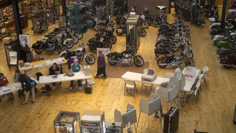 People vote inside the Frontier-Harley Davidson store in Lincoln, Nebraska.