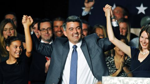 U.S. Rep. Cory Gardner celebrates in Denver after he was projected to win the U.S. Senate seat in Colorado on Tuesday, November 4.