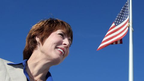 Democratic U.S. House candidate Gwen Graham greets voters outside a voting precinct in Panama City, Fla., on Tuesday. (AP Photo/The News Herald/Panama City, Fla., Andrew Wardlow)