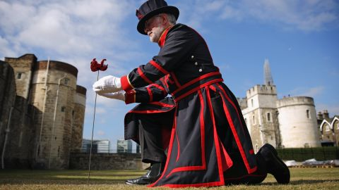 """The first was """"planted"""" in the moat of the Tower of London by Crawford Butler, the longest serving Yeoman Warder at the Tower, on July 17, 2014."""
